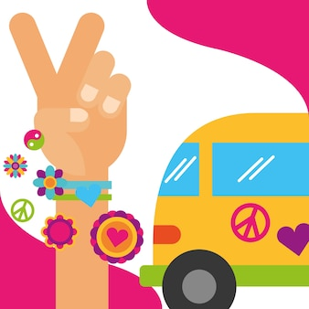 Vintage van hand vrede en liefde bloemen hippie vrije geest