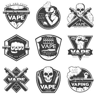 Vintage vape-logo ingesteld