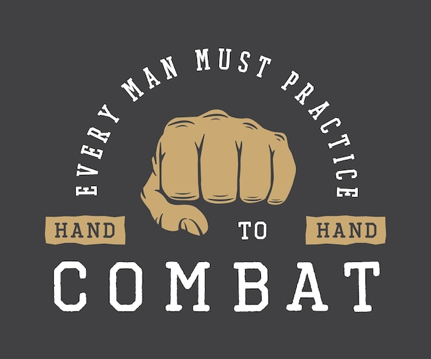 Vintage vechtsporten sport of vechtclub logo