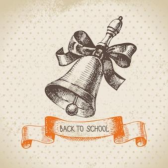 Vintage vector achtergrond met hand terug getrokken naar school illustratie