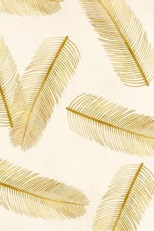 Vintage vector palm blad patroon illustratie beige banner