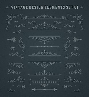 Vintage vector swirls ornaments decorations ontwerpelementen