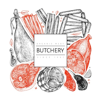 Vintage vector vleesproducten labelsjabloon.