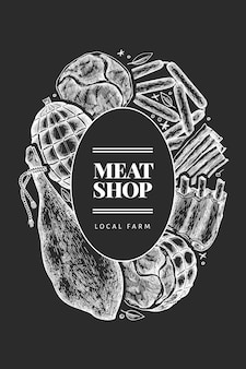 Vintage vector vleesproducten ontwerp