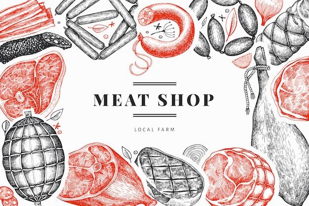 Vintage vector vleesproducten ontwerpsjabloon. hand getrokken ham, worst, jamon, specerijen en kruiden. retro illustratie. kan worden gebruikt voor restaurantmenu.