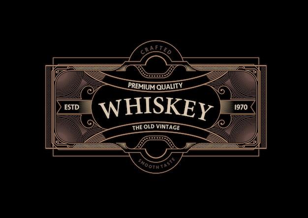 Vintage vector whisky label ontwerpsjabloon