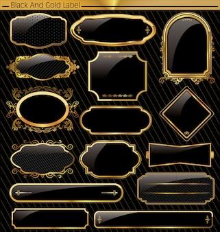 Vintage vector zwart gouden frame label