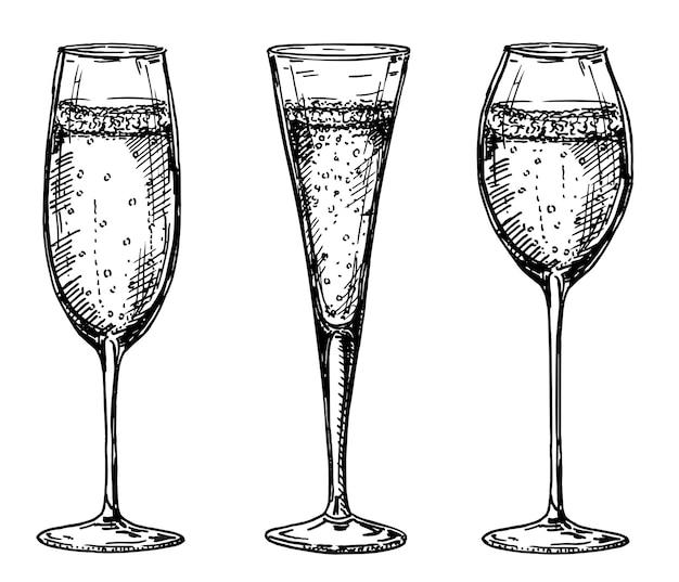 Vintage vectorillustratie met hand getrokken verschillende soorten glazen champagne glas wijn