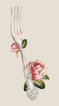 Vintage vectorillustratie met zilveren vork, geremixt van het kunstwerk van ludmilla calderon