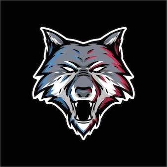 Vintage vectorillustratie van een hoofdwolf