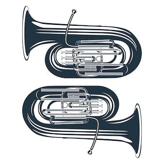 Vintage vectorillustratie van een trompet