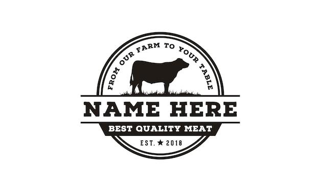 Vintage vee / rundvlees label embleem embleemontwerp