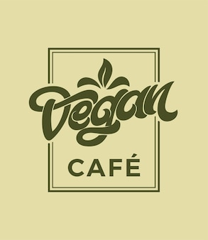 Vintage vegan cafe typografie op beige achtergrond.