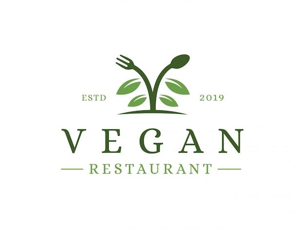 Vintage veganistisch restaurant logo
