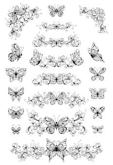Vintage verdelers en decoraties met geïsoleerde vlinders. sierlijke elementen