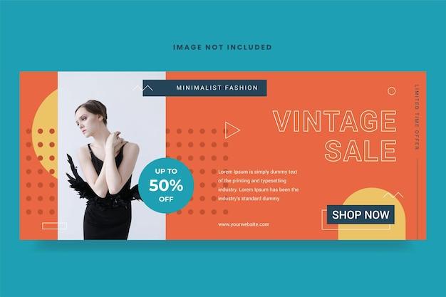 Vintage verkoop banner sjabloon gratis vector