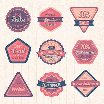 Vintage verkoop etiketten en badges ingesteld