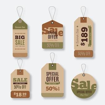 Vintage verkoop tag collectie sjabloon