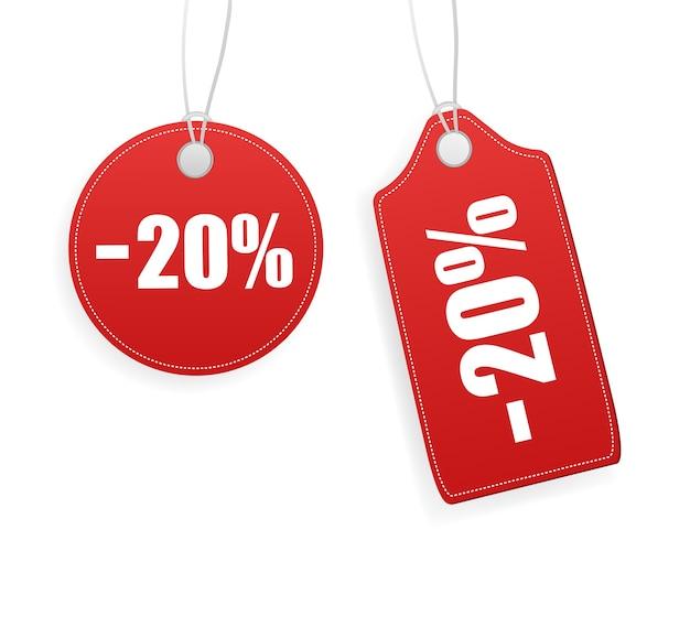 Vintage verkoop-tag, geweldig voor elk doel. verkoop rode tag op witte achtergrond. leeg etiket.