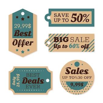 Vintage verkoop tags ingesteld