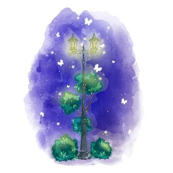 Vintage verlichte lantaarn in een nacht park met vuurvliegjes, vlinders.