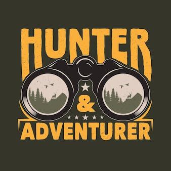 Vintage verrekijker jacht- en avontuurembleem badge