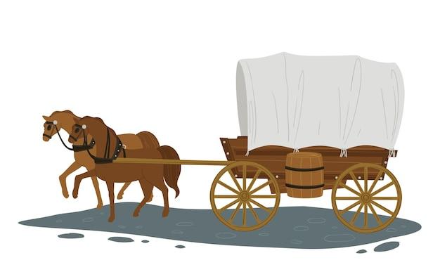 Vintage vervoer en woon-werkverkeer in stad of dorp, vervoer eeuwen geleden. geïsoleerd paard dat vervoer met passagiers trekt. lopende dieren in harnas, beweging van het voertuig. vector in vlakke stijl