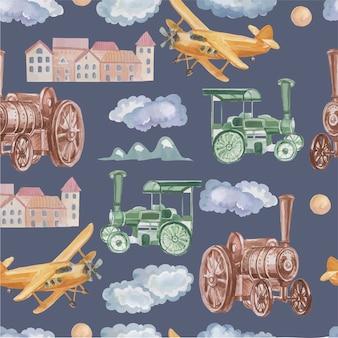 Vintage vervoer stoomlocomotief auto vliegtuig in de wolken stad en bergen reizen avontuur st