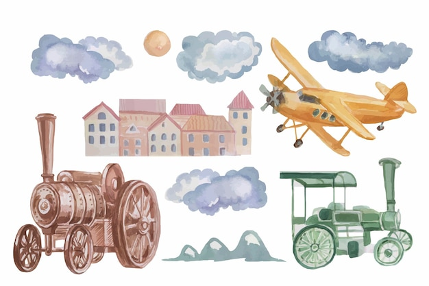 Vintage vervoer stoomlocomotief auto vliegtuig in de wolken stad en bergen reizen avontuur