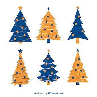 Vintage verzameling van blauwe en gele kerstbomen