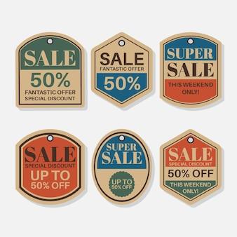 Vintage verzameling verkooplabels met kortingen