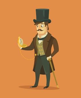 Vintage victoriaanse heer. vector platte illustratie