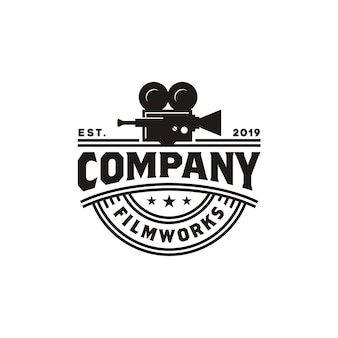 Vintage videocamera-logo voor de productie van bioscoopfilms