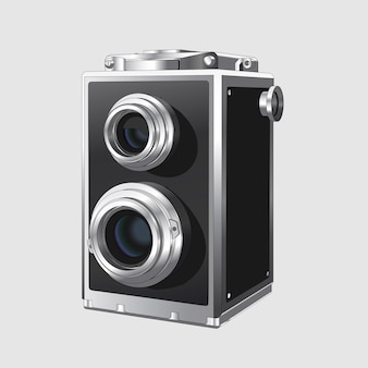 Vintage vierkante fotocamera. realistische retro oude fotocamera op witte achtergrond. geïsoleerd.