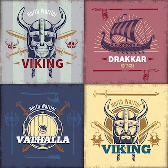 Vintage viking emblemen set