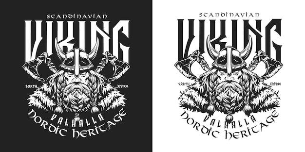 Vintage viking monochroom label met inscripties strijdbijlen serieuze bebaarde scandinavische krijger in gehoornde helm