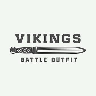 Vintage vikingen logo, label, embleem, badge in retro stijl met citaat. monochroom grafische kunst. vectorillustratie.