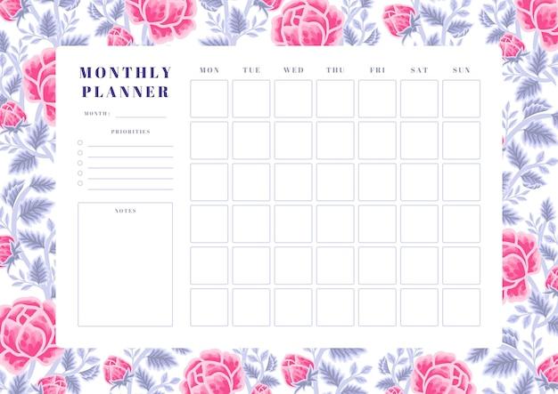 Vintage violet en roze roos bloem maandelijkse planner sjabloon