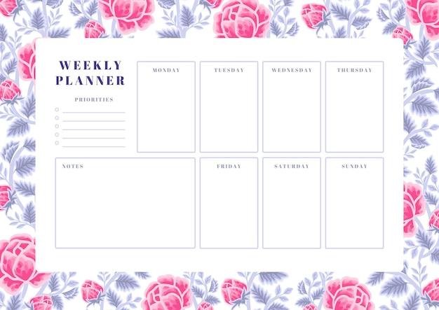 Vintage violet en roze roos bloem wekelijkse planner sjabloon