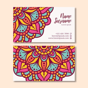 Vintage visitekaartje met mandala-ontwerp. sjabloon voor visitekaartjes