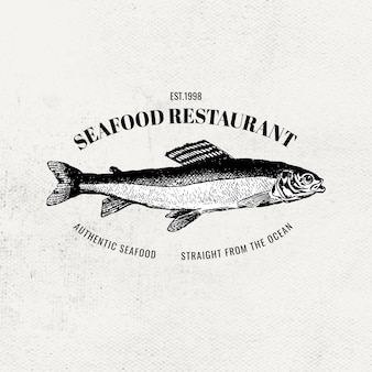 Vintage visrestaurant vector vis logo zakelijke badge