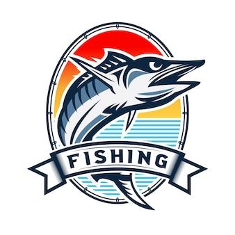 Vintage vissen logo ontwerp