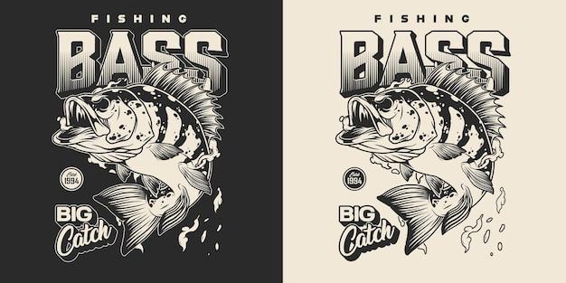 Vintage vissen monochrome print met belettering baars en waterdruppels op donker en licht