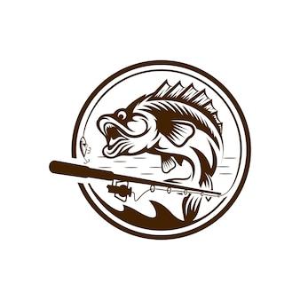 Vintage visserij logo ontwerp illustratie