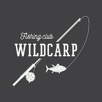 Vintage visserijetiket, logboek, badge.