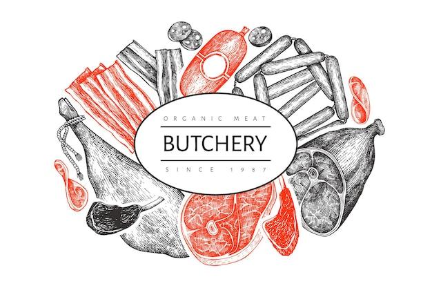 Vintage vleesproducten. handgetekende ham, worstjes, jamon, specerijen en kruiden.