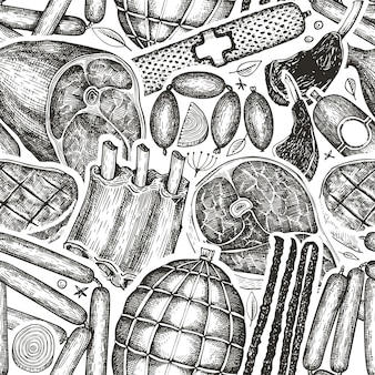 Vintage vleesproducten naadloze patroon. hand getrokken ham, worst, jamon, biefstuk, specerijen en kruiden. rauwe voedselingrediënten.