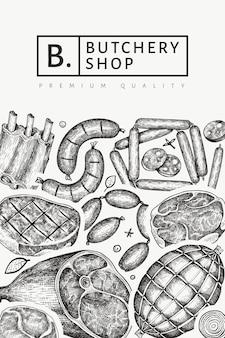 Vintage vleesproducten ontwerp. hand getekende ham, worstjes, specerijen en kruiden. retro illustratie.