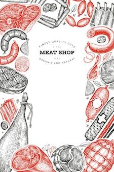 Vintage vleesproducten ontwerp
