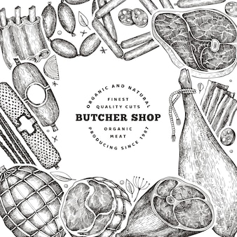 Vintage vleesproducten ontwerpsjabloon. hand getrokken ham, worst, jamon, specerijen en kruiden.